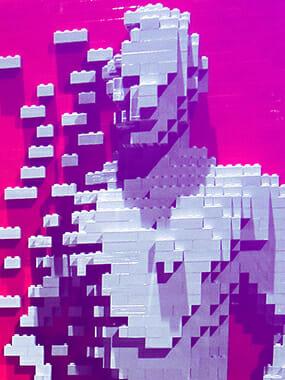 Lego bricks forming a human figure