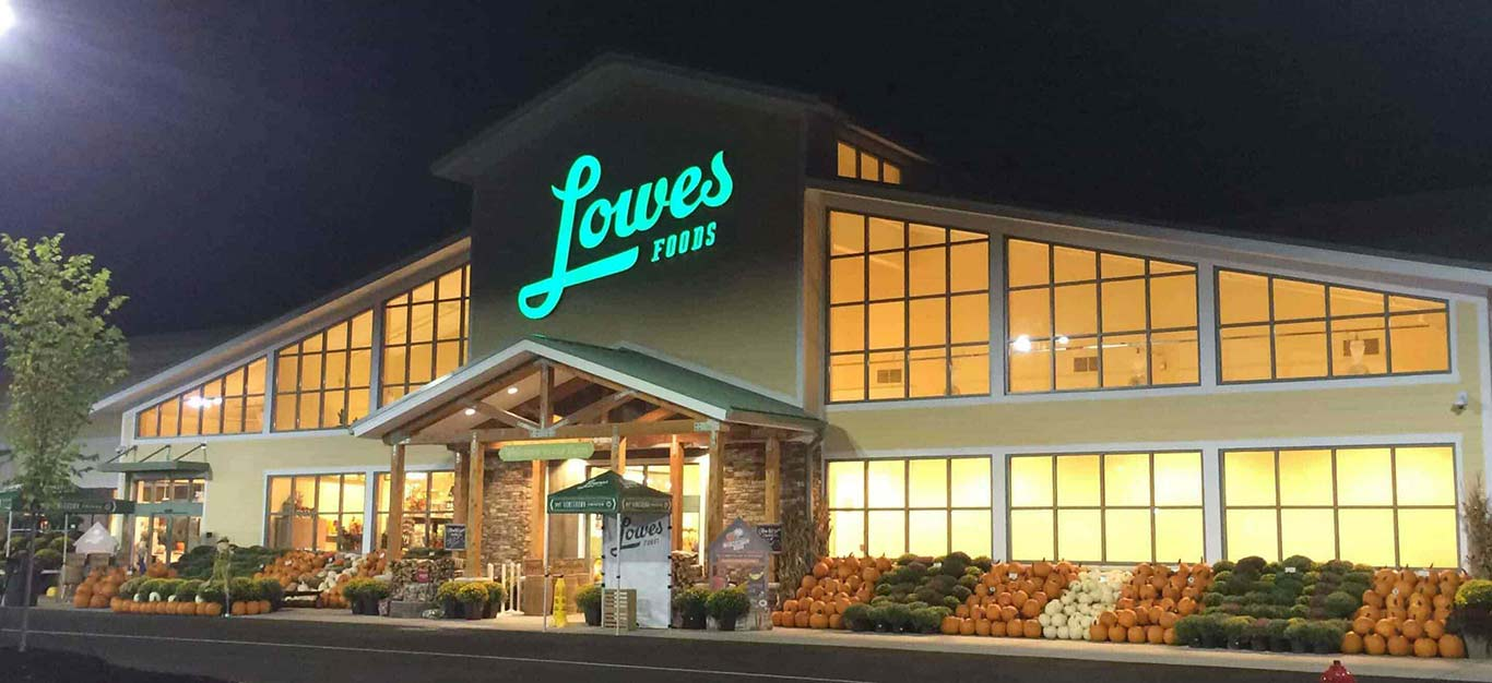 A night-time shot outside U.S. supermarket chain Lowes Foods